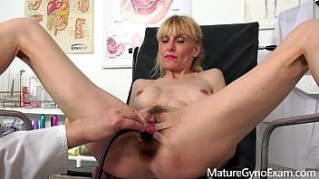 Perverse gyno exam of slender mature woman Valeria Blond