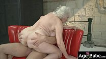 Granny Norma ride and bounce up and   down on Rob's massive cock