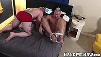 Very buff hunks have bareback sex flip flop style
