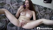 Sexy babe with great tits pleasuring her cunt