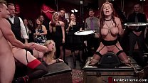 Busty slaves in bondage anal fucked orgy