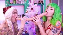Christmas Teen Elves play with double dildo & cherry acid Leah Meow Lesbian sex