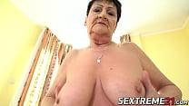 Curvy grandma rubs her pussy before getting hammered hard 6 min