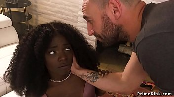 Ebony beauty slave whipped in bondage