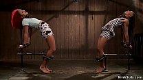 Ebony lesbian slaves anal fucked