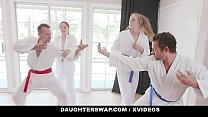 DaughterSwap - Teen Blonde (Ashley Red) And Redhead (Luna Light) Suck Off Their Stepdads Together
