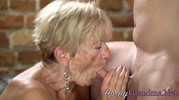 Blonde granny rides hard cock