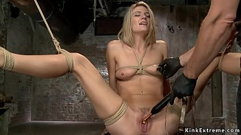 Blonde sub gets stretched and vibrated