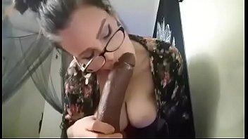 Camgirl Sucks Huge BBC Dildo with Vibrator on in Panties