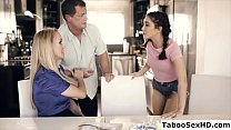 Foster parents and the teen stepdaughter make love