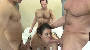 Five Big Dick Guys fucks a Hot Skinny Petite Brunette Wildly in a Hot Group Sex Party