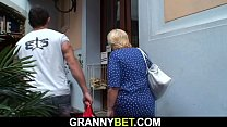 Blonde 80 years old granny pleases young stranger