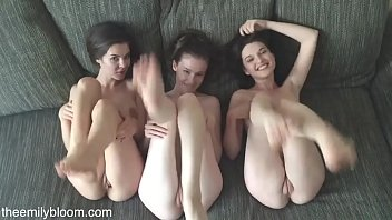 Euro pale glamour models Emily Bloom, Serena Wood and Dakota Haux in sensual play in bed