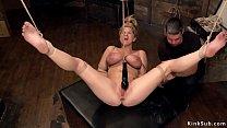 Hogtied blonde in horizontal suspension