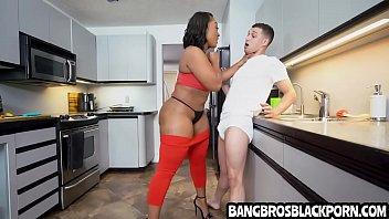Teen wants his black step mom so bad that he fucks her so hard- ebony porn interracial 5 min