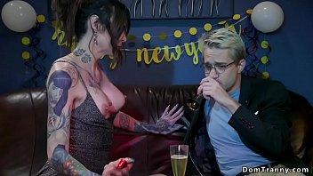 Tattooed shemale anal fucks blond male