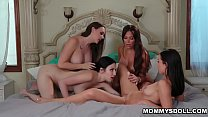 Hot lesbian orgy inisde the bedroom with moms Chanel Preston and Jaclyn Taylor and stepdaughters Jade Baker and Aidra Fox