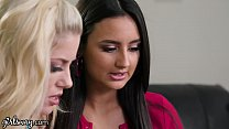 GIRLSWAY Her Boyfriend's Lesbian Porn Makes Babes Horny to Try