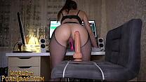 Sexy babe in stockings rides dildo