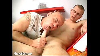 Daddy having oral fun with a skinny twink