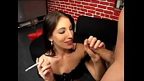 Pretty darkhaired  girl Brandi Lyons likes her friend getting his nuts off on her small perky tits after sloppy blowjob