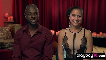 Curious ebony couple join to a private swinger club
