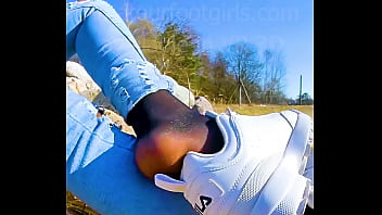 Shoeplay Dipping Girl slips out of her sweaty stinky Nylons sneakers Feet footfetish clip video foot toe