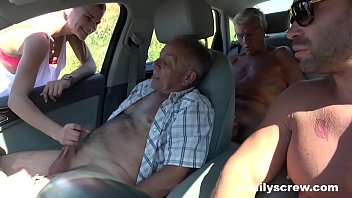 Street Slut Fucking with Grandpa, Son and Uncle 10 min
