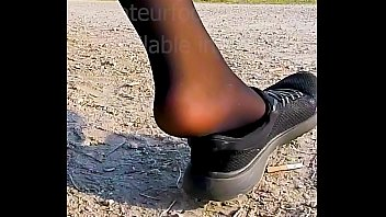 Shoeplay Dangling Dipping Nylons sneakers Feet footfetish clip video foot toe Girl slips out of her sweaty stinky shoes