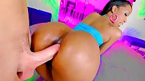 Black milf with huge tits gets her ass fucked by a white cock