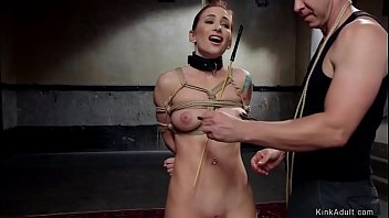 Redhead slave in anal gangbang training