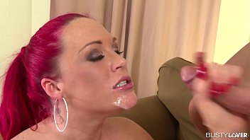 Busty lovers Paige Delight gives a smokin hot blowjob and gets a facial