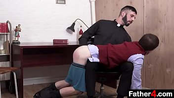 Catholic boy moans and squeals as his virgin asshole is penetrated for the first time by priest