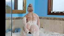 Brook Pages stepson walks in on her vibing her clit in the bathtub. He gives her the real dick she desires.