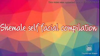 horny shemale self facial