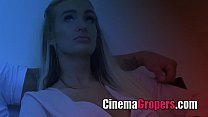 hot girl teasing man in cinema