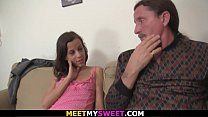 Petite girl seduces old dad to lick her young pussy