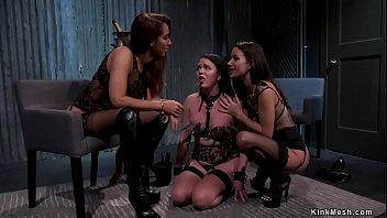 Lesbian slave anal banged in threesome