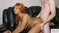 Cute Ebony Redhead IslaCox Takes Huge White Cock in Doggy and Gets Spanked