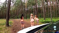 Pick up of three redhead female students jogging in the forest - girls piss - nicely jerked off, see you later