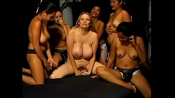 Lusty blonde with amazing tits gets gang banged by a group of hungry Asian whores