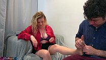 Stepson rubs and fucks stepmom after a hard day at work