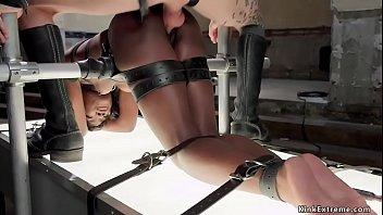 Gimp slave fucks tied ebony trainee