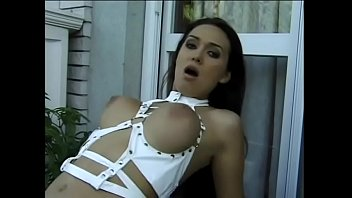 Cock hungry brunette babe with big natural breasts got rear delivery on the stairs