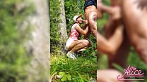 Girlfriend Deepthroat and Doggystyle Fucking in the Wood - Creampie