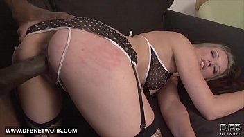 Slut blonde moans and cums when black man shoves his cock inside her pussy