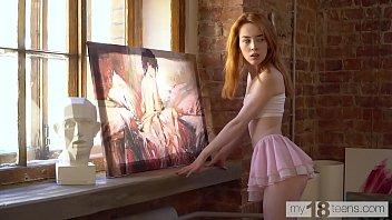 MY18TEENS - Amazing Lottie Magne masturbation in the art room