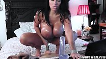 Huge titty milf Sienna West rides big dildo for fans live on cam