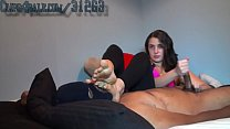 Cute young white woman gives black dick a handjob - #2