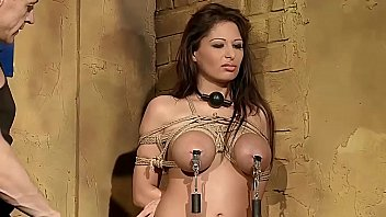 Busty woman  Alison Star, tied up and gets BDSM lessons. Part 1.